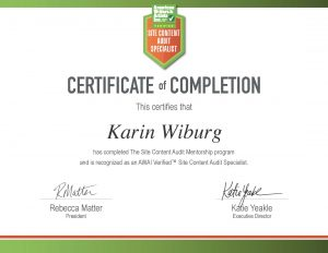 Site Content Audit Mentorship Certificate of Completion